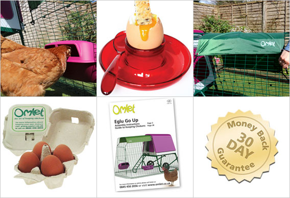 Feeder, Drinker, All Weather Shade, Omlet egg boxes, Omlet guide on chicken keeping, 30 day money back guarantee.